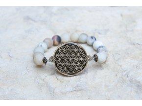 Náramek s amuletem Květ života - Amazonit