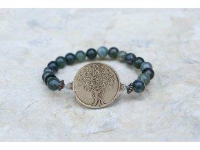 Náramek s amuletem Strom života - Achát mechový
