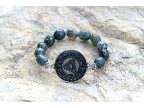 Náramek s amuletem Spojení tří světů - Achát mechový