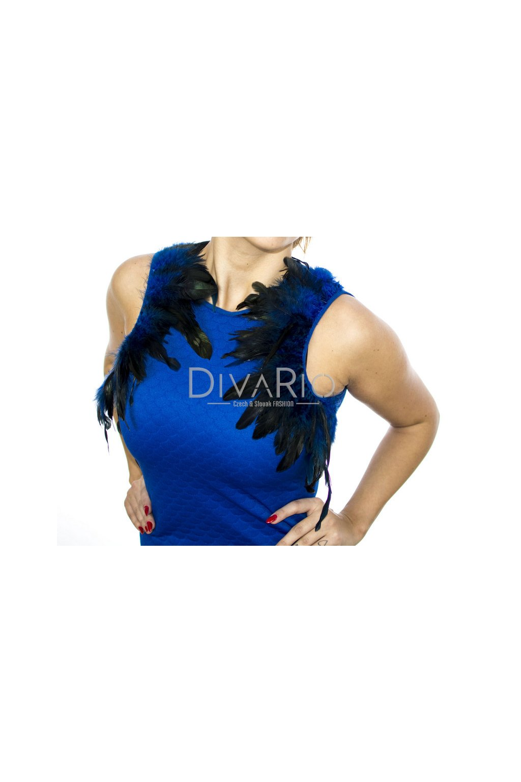 Spoločenské Blue šaty 2064 (Farba Modrá, Veľkosť S/M)