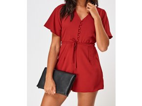 button up flare sleeve playsuit wine 78716 4