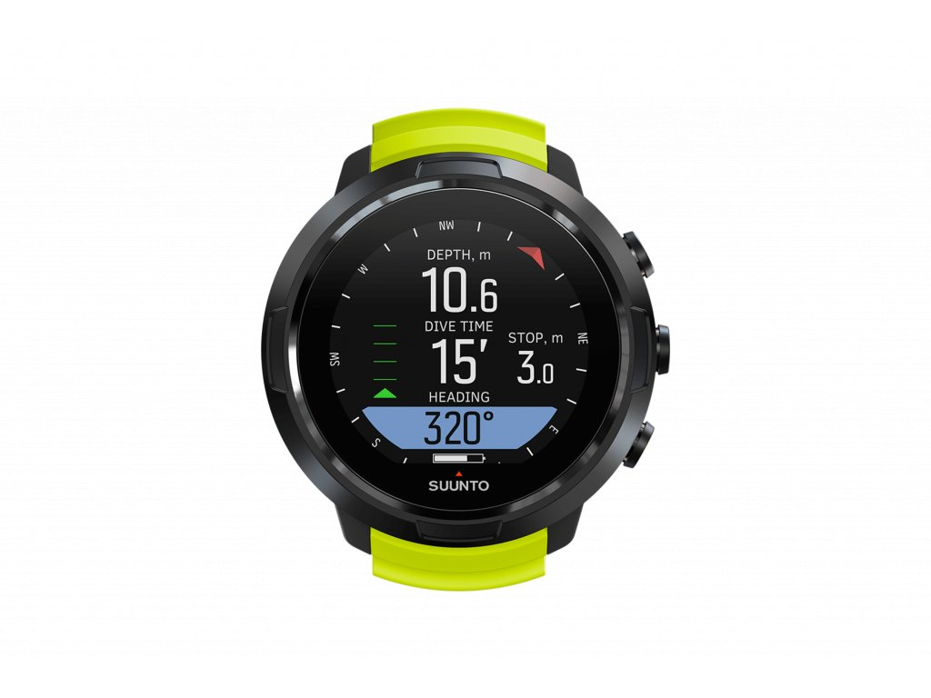 SS050191000 SUUNTO D5 BLACK LIME Front View compass