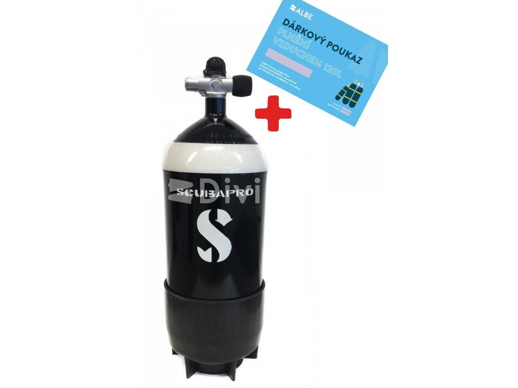 Scubapro 12l lahev kratka + 120 L vzduchu zdarma