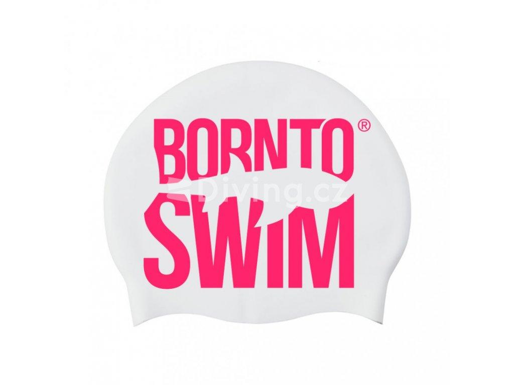 Silikonová čepice bílá BornToSwim®  Classic, velké barevné logo (Barva Černá, Velikost 23)