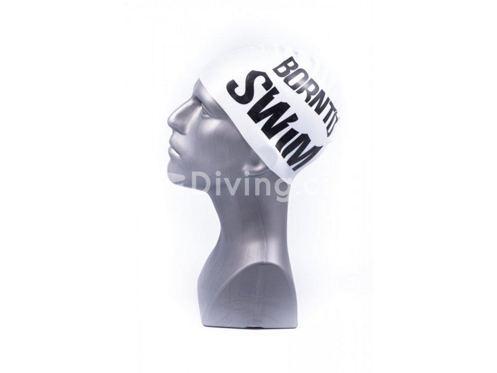 Silikonová čepice světle stříbrná BornToSwim®  Classic, velké černé logo 23, světle stříbrná (Barva světle stříbrná, Velikost 23)