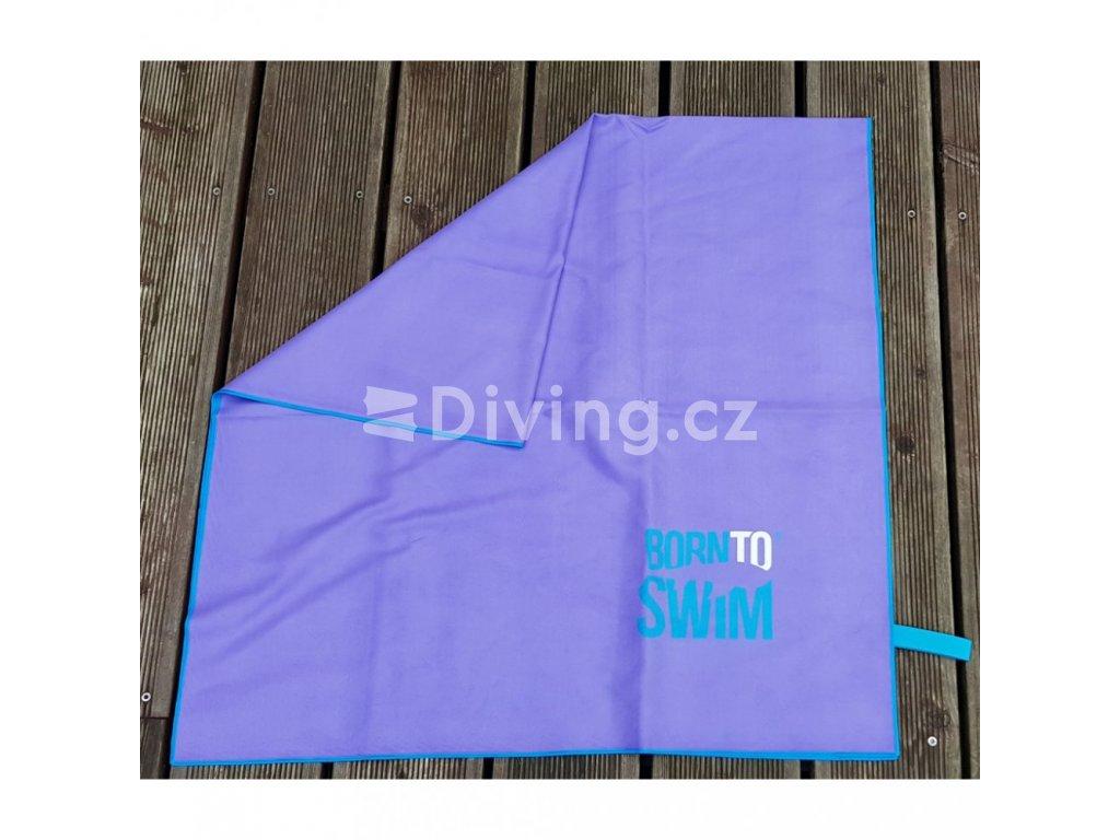 Microfibre sportovní ručník s BornToSwim® logem (Barva Modrá, Velikost 70x140cm)