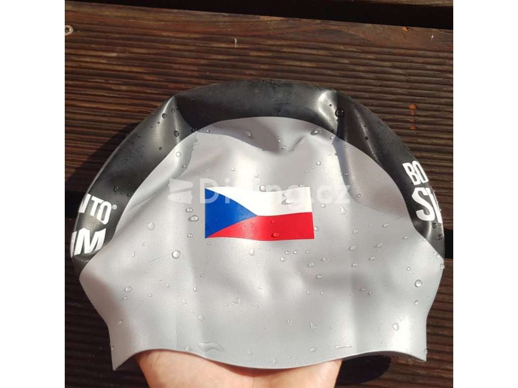Plavecká čepice BornToSwim® Elite CZ (Barva stříbrná)