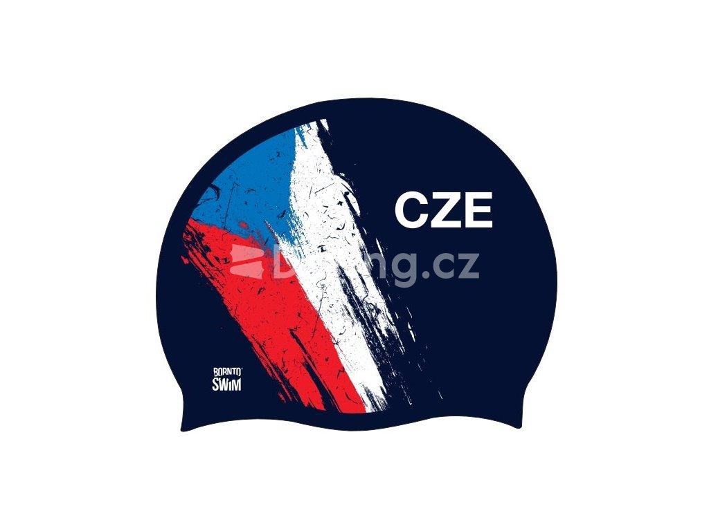 Silikonová čepice tmavě modrá BornToSwim® CZE (Barva Tmavě modrá, Velikost 23)