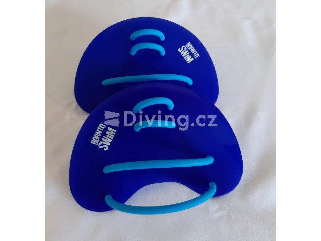 Plavecké packy BornToSwim®  Finger tmavě modrá, 15 x 8,5 cm (Barva Tmavě modrá, Velikost 15 x 8,5 cm)