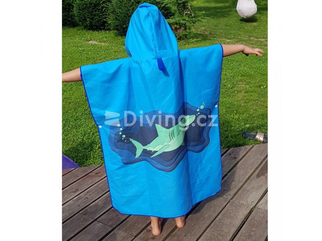 Poncho ručník s kapucí pro děti (Barva Zelená, Velikost XS)