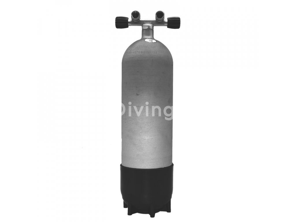 faber 10l 300 bar hot dipped steel cylinder complete with twin valve and boot