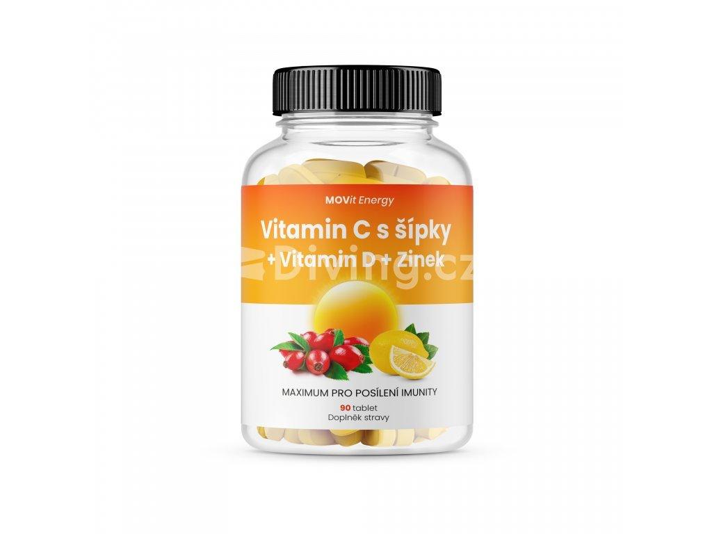 MOVit Vitamin C 1200 mg s šípky + Vitamin D + Zinek PREMIUM, 90 tbl.