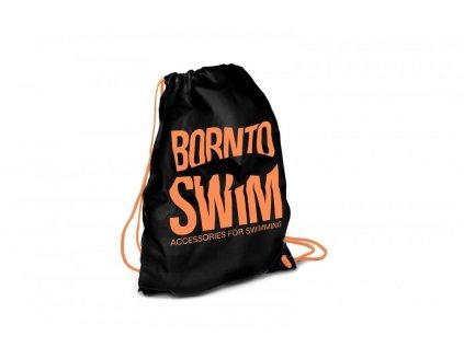 Sportovní černý stahovací vak BornToSwim®  Swimbag (Barva černá/bílá, Velikost 35x45cm)
