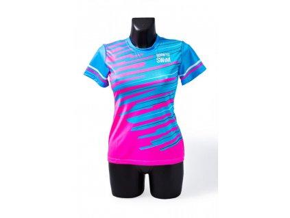 Dámské tričko BornToSwim® CoolMax (Barva modrá/růžová, Velikost XL)