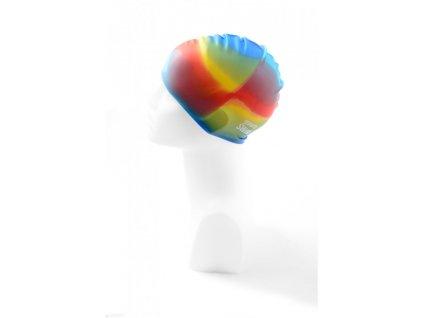 Dětská plavecká čepice BornToSwim® Junior-  duhová 3 duhová, 22 (Barva duhová, Velikost 22)