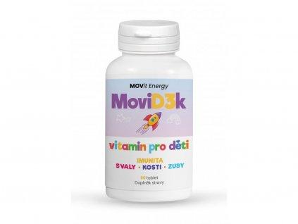 MoviD3k - vitamin D3 pro děti, 800 I.U., 90 tablet s příchutí pomeranče