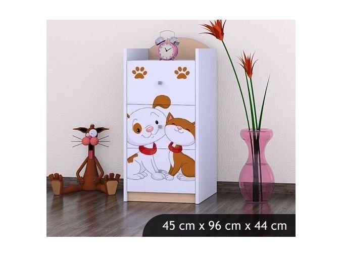 Dětská komoda BABYDREAMS Dog and kitten S (8)