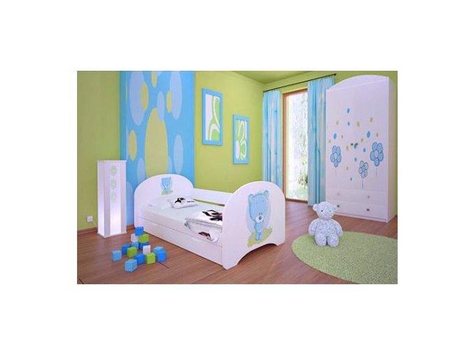 Dětská postel BABYDREAMS Blue teddy bear s přistýlkou