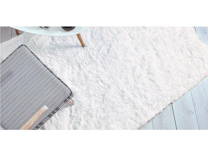Plyšový koberec - Krystalovo-Bílý