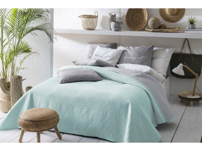 Oboustranný přehoz na postel BUENO 170x210 mátovo-šedá