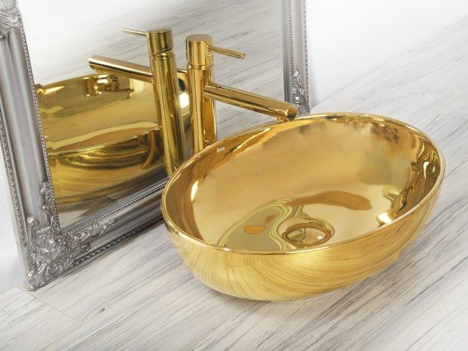 Keramické umyvadlo CAROLA SLIM - zlaté