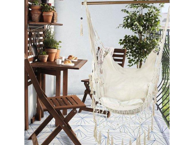 Závěsné houpací křeslo ARUBA XXL s polštářem 145x100 cm - bílé