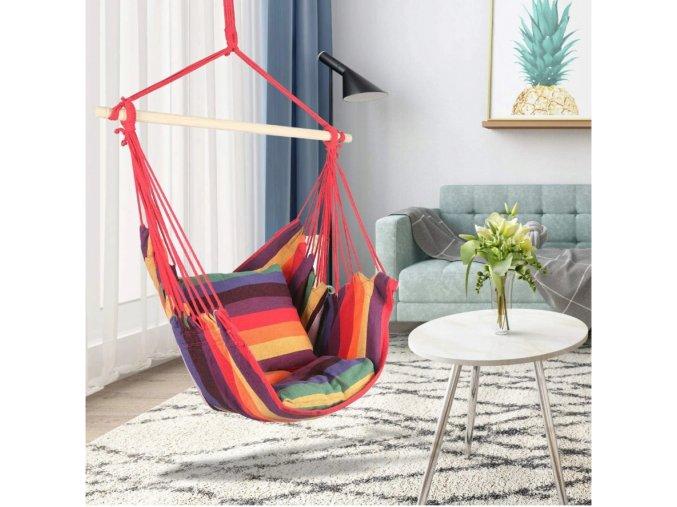 Závěsné houpací křeslo s polštáři 100x120 cm - multicolor