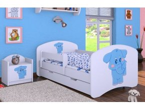 Dětská postel BABYDREAMS Blue elephant se šuplíkem (1)