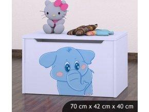 Dětská truhla na hračky BABYDREAMS Blue Elephant (7)