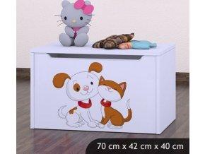 Dětská truhla na hračky BABYDREAMS Dog And Kitten (6)