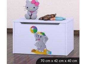 Dětská truhla na hračky BABYDREAMS Elephant With The Ball (6)