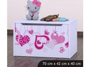 Dětská truhla na hračky BABYDREAMS Falling Hearts (4)