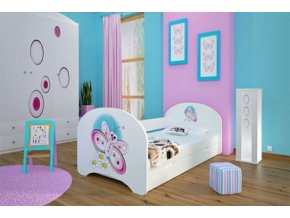 Dětská postel BABYDREAMS Butterfly s přistýlkou