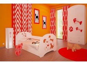 Dětská postel BABYDREAMS Dog and kitten bear s přistýlkou