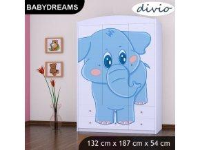 Dětská skříň BABYDREAMS Blue elephant XXL (1)