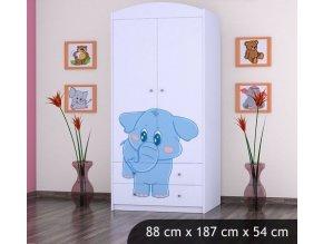 Dětská skříň BABYDREAMS Blue elephant L (3)