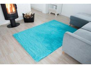 Plyšový koberec - Tyrkysový