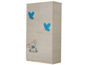 Dětská skříň LUX s výřezem PEJSEK modrá