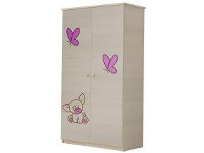 Dětská skříň LUX s výřezem PEJSEK růžová
