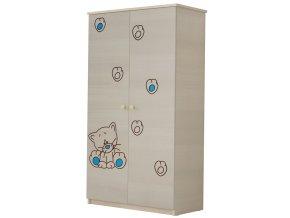 Dětská skříň LUX s výřezem KOČIČKA modrá