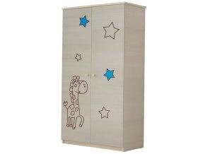 Dětská skříň LUX s výřezem ŽIRAFKA modrá