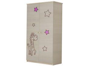 Dětská skříň LUX s výřezem ŽIRAFKA růžová