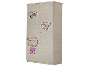 Dětská skříň LUX s výřezem MEDVÍDEK růžová