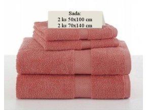Sada ručníků a osušek SOFT Korálová