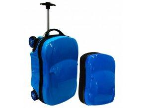 Dětský Kufr + Batoh AUTO Modrý