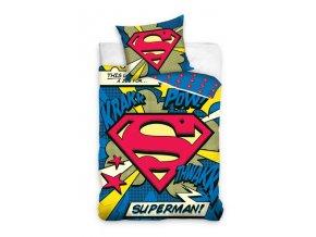 Detske Bavlněné Povlečení SUPERMAN 2 160x200 cm + 70x80 cm