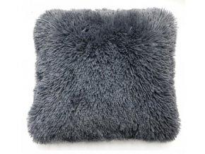 Plyšový povlak na polštář 40x40 cm Tmavě Šedý