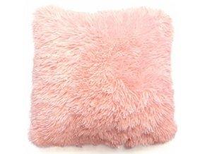 Plyšový povlak na polštář 40x40 cm Růžový
