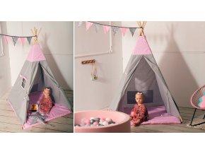 Dětský stan TEEPEE (TÝPÍ) Hvězdičky + doplňky Šedý/Růžový