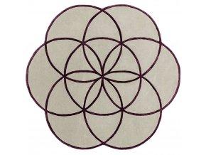 lotus flower rug purple wool viscose